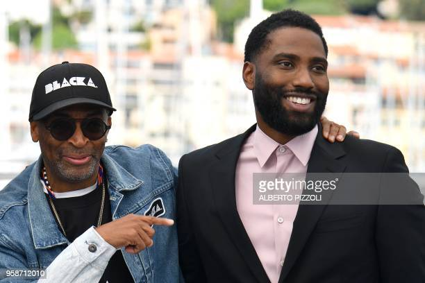 US director Spike Lee and US actor John David Washington pose on May 15 2018 during a photocall for the film BlacKkKlansman at the 71st edition of...