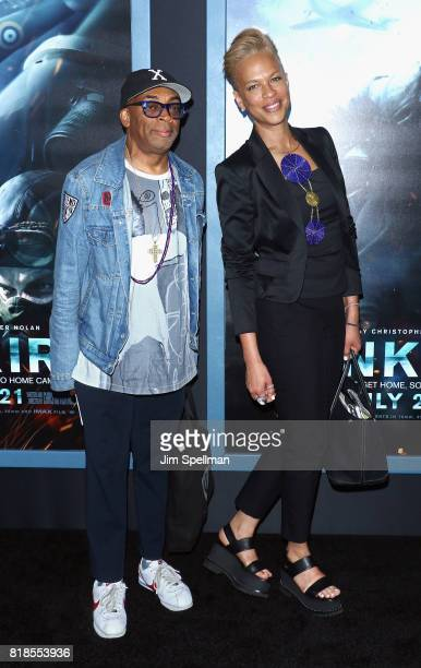 Director Spike Lee and wife Tonya Lewis Lee attend the 'DUNKIRK' New York premiere at AMC Lincoln Square IMAX on July 18 2017 in New York City