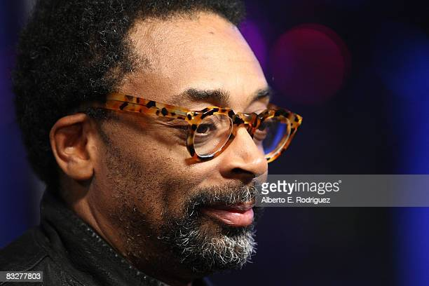 Director Spike Lee arrives at the premeire of Nokia Productions' Spike Lee Collaboration film held at the Nokia Theater LA Live on October 14 2008 in...