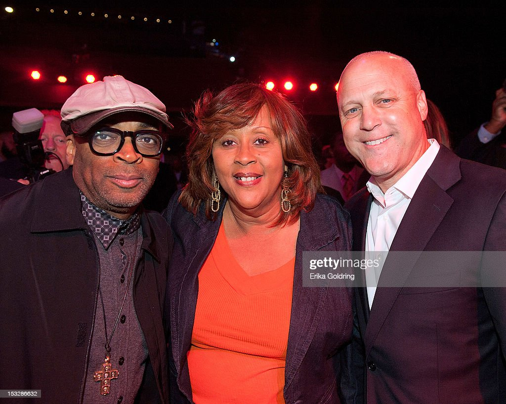 Director Spike Lee, Big Queen Rita Dollis of the Wild Magnolias Mardi Gras Indians, and New Orleans Mayor Mitch Landrieu attend the 'Flip the Script' Public Awareness campaign launch at The Joy Theater on October 2, 2012 in New Orleans, Louisiana.