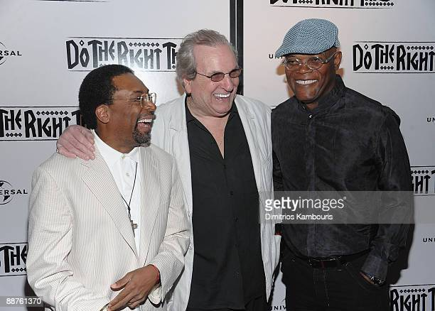 Director Spike Lee Danny Aiello and Samuel L Jackson attend the 20th anniversary screening of Do The Right Thing at Directors Guild of America...