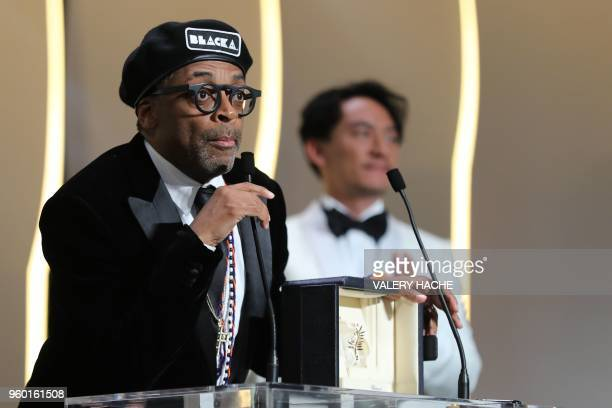 US director Spike Lee delivers a speech after he was awarded with the Grand Prix for the film BlacKkKlansman on May 19 2018 during the closing...