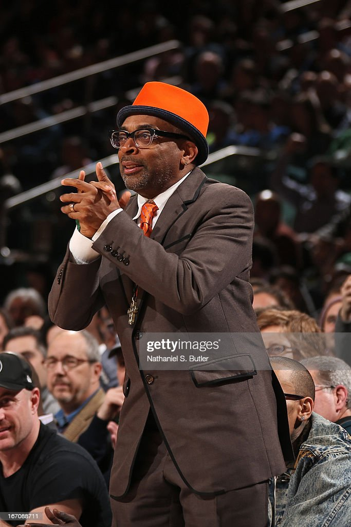 Director Spike Lee gets pumped up against the Boston Celtics on March 31, 2013 at Madison Square Garden in New York City.