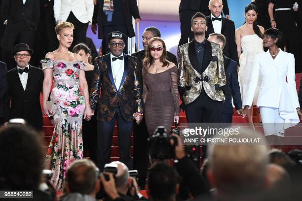 US director Spike Lee his wife Tonya Lewis Lee their children Satchel Lee Jackson Lee and US actress Damaris Lewis pose on May 14 2018 while leaving...