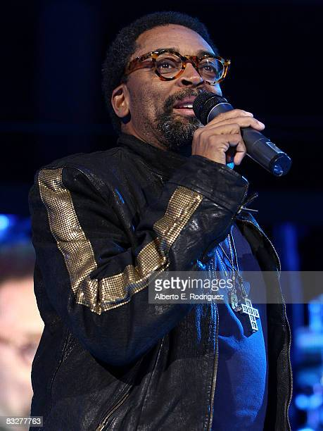 Director Spike Lee introduces the premeire of Nokia Productions' Spike Lee Collaboration film held at the Nokia Theater LA Live on October 14 2008 in...