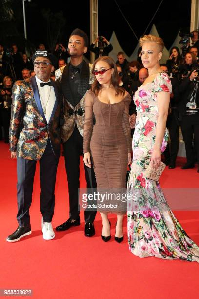 Director Spike Lee Jackson Lee Satchel Lee and Tonya Lewis Lee attends the screening of BlacKkKlansman during the 71st annual Cannes Film Festival at...
