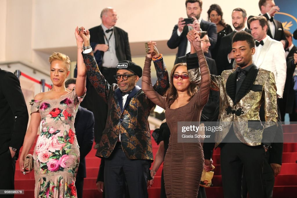 Director Spike Lee, Jackson Lee, Satchel Lee and Tonya Lewis Lee attends the screening of 'BlacKkKlansman' during the 71st annual Cannes Film Festival at Palais des Festivals on May 14, 2018 in Cannes, France.