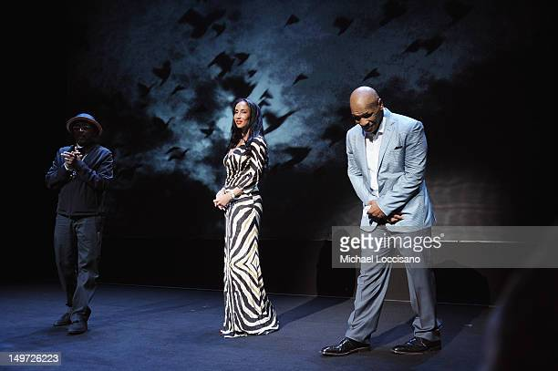 """Director Spike Lee, Lakiha Spicer and husband, Mike Tyson take part in a curtain call during the """"Mike Tyson: Undisputed Truth"""" Broadway Opening..."""