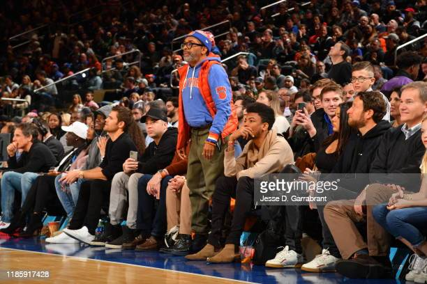 Director Spike Lee looks on during a game between the New York Knicks and the Boston Celtics on December 1 2019 at Madison Square Garden in New York...
