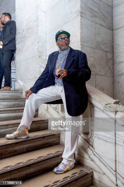 Director Spike Lee on stage during Rev Al Sharpton 65th Birthday Celebration at New York Public Library Stephen A Schwartzman Building on October 03...