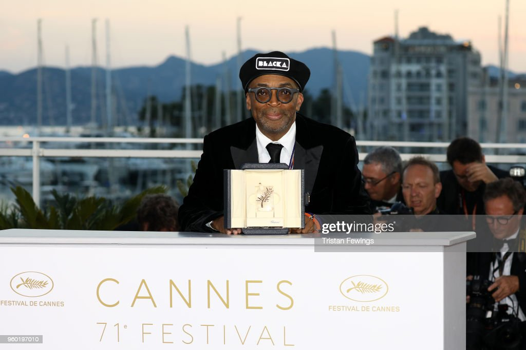 Director Spike Lee poses with the Grand Prix award for 'BlacKkKlansman' at the Palme D'Or Winner Photocall during the 71st annual Cannes Film Festival at Palais des Festivals on May 19, 2018 in Cannes, France.