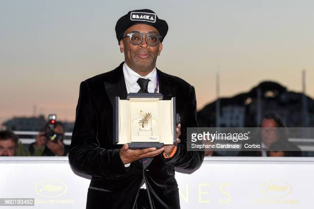 Director Spike Lee posing with the Grand Prix award for 'BlacKkKlansman' at the Palme D'Or Winner Photocall during the 71st annual Cannes Film...
