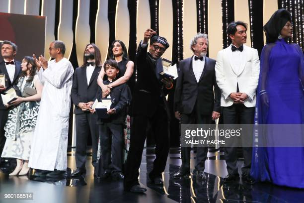 TOPSHOT US director Spike Lee reacts on stage after he was awarded with the Grand Prix for the film 'BlacKkKlansman' as Polish director Pawel...