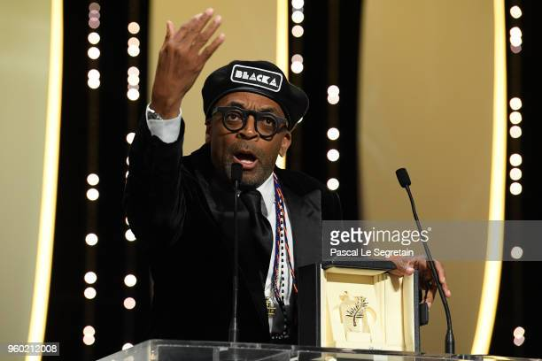 Director Spike Lee speaks on stage during as he receives the Grand Prix award for 'BlacKkKlansman' during the closing ceremony of the 71st annual...