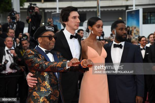 US director Spike Lee US actor Adam Driver US actress Laura Harrier and US actor John David Washington pose as they arrive on May 14 2018 for the...