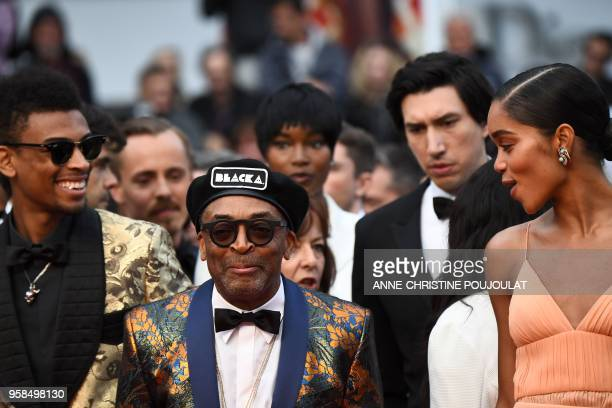US director Spike Lee US actress Damaris Lewis US actor Adam Driver and US actress Laura Harrier arrive on May 14 2018 for the screening of the film...