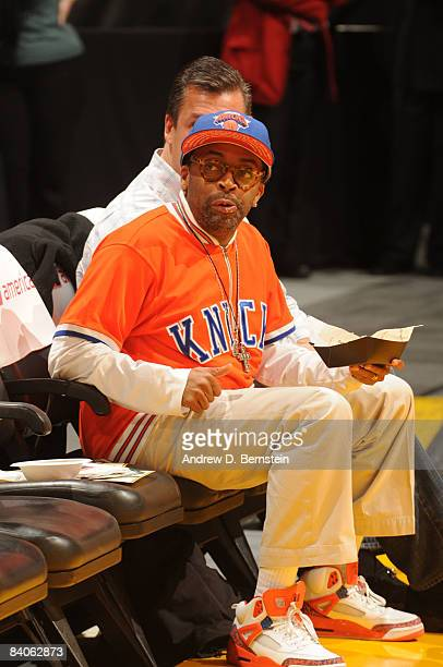 Director Spike Lee watches the game from courtside between the New York Knicks and the Los Angeles Lakers at Staples Center on December 16 2008 in...
