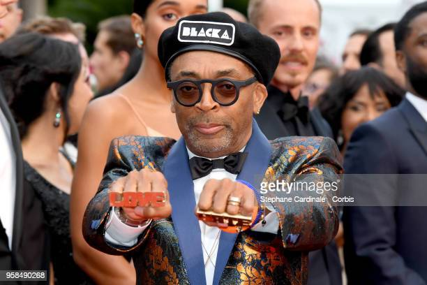 Director Spike Lee wears knuckle rings with love and hate on them as he attends the screening of Blackkklansman during the 71st annual Cannes Film...