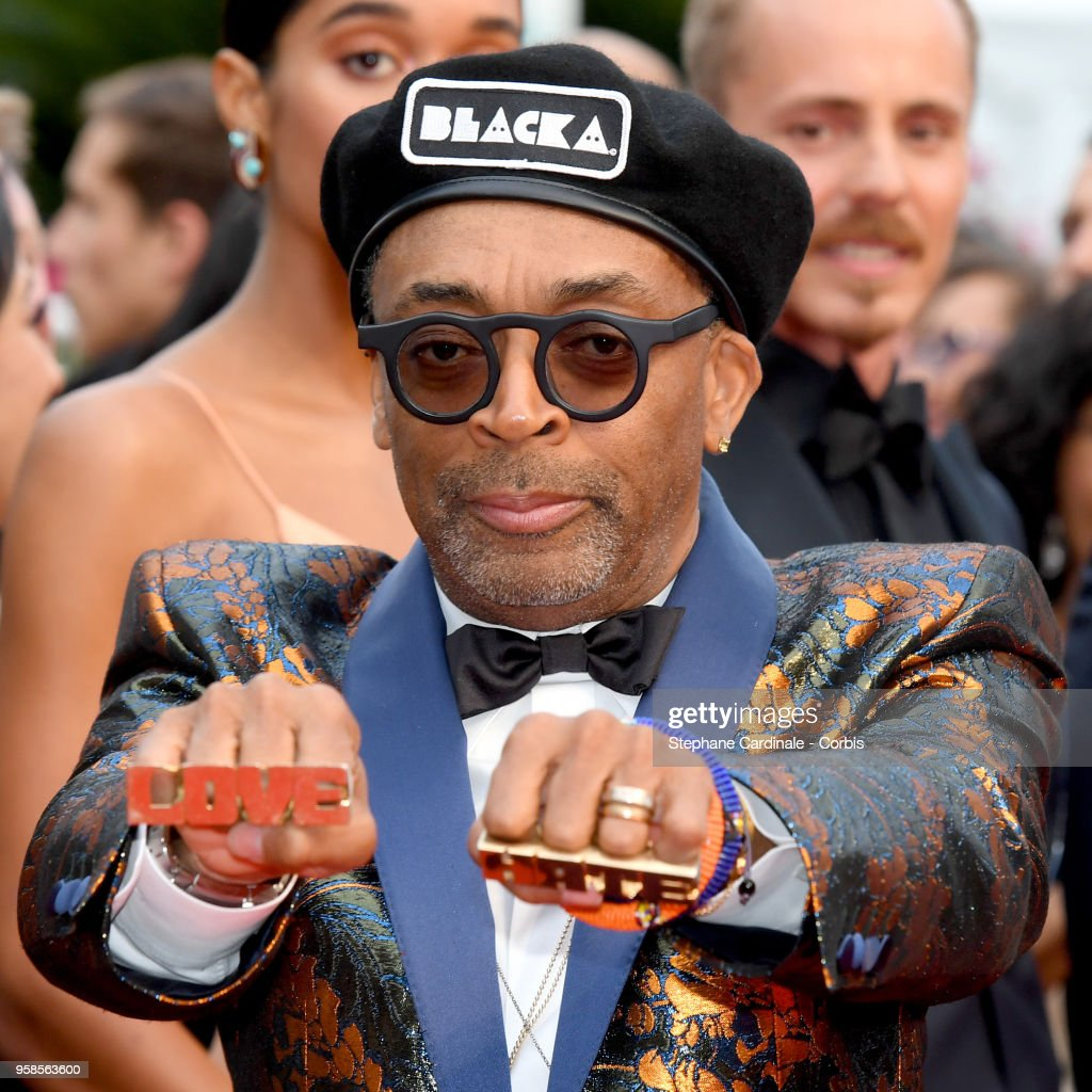 Director Spike Lee wears knuckle rings with love and hate on them as he attends the screening of 'BlacKkKlansman' during the 71st annual Cannes Film Festival at Palais des Festivals on May 14, 2018 in Cannes, France.