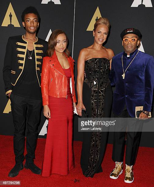 Director Spike Lee wife Tonya Lewis Lee and children Jackson Lee and Satchel Lee attend the 7th annual Governors Awards at The Ray Dolby Ballroom at...