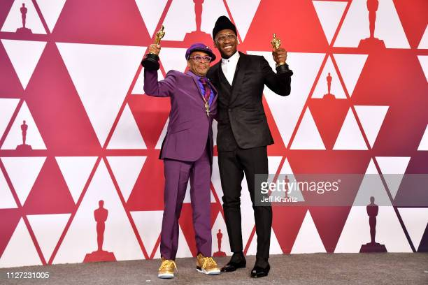Director Spike Lee winner of the the Best Adapted Screenplay award for BlacKkKlansman and Mahershala Ali winner of the Best Supporting Actor award...