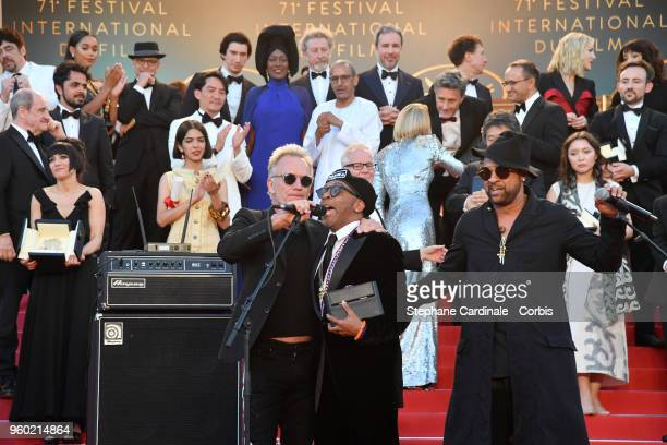 Director Spike Lee with the Grand Prix award for 'BlacKkKlansman performs with Sting and Shaggy on the red carpet steps during the 71st annual Cannes...