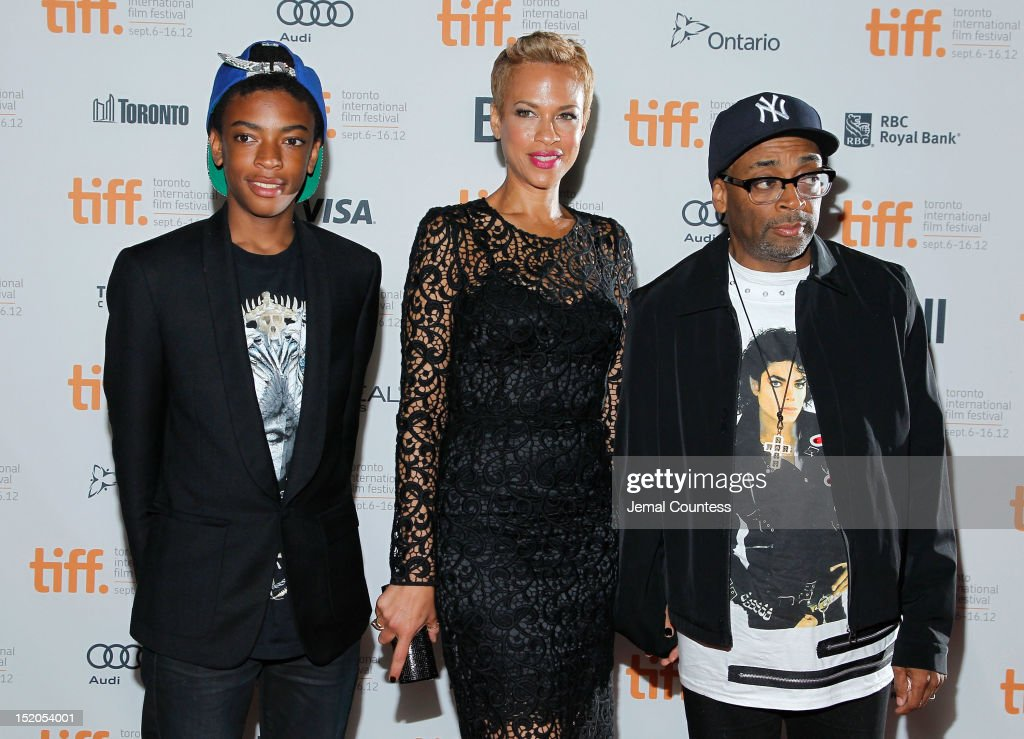 Director Spike Lee (far R) with wife Tonya Lewis Lee and son Jackson Lee attend the 'Bad 25' Premiere during the 2012 Toronto International Film Festival held at the Ryerson Theatre on September 15, 2012 in Toronto, Canada.