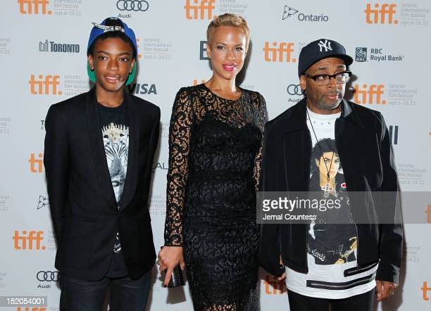 Director Spike Lee with wife Tonya Lewis Lee and son Jackson Lee attend the Bad 25 Premiere during the 2012 Toronto International Film Festival held...