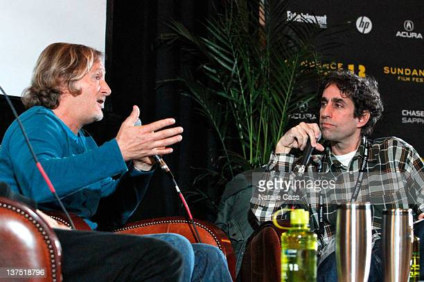 Director Stacy Peralta and photographer Glen E Friedman attend day 2 of Cinema Cafe presented by Chase Sapphire during the 2012 Sundance Film...