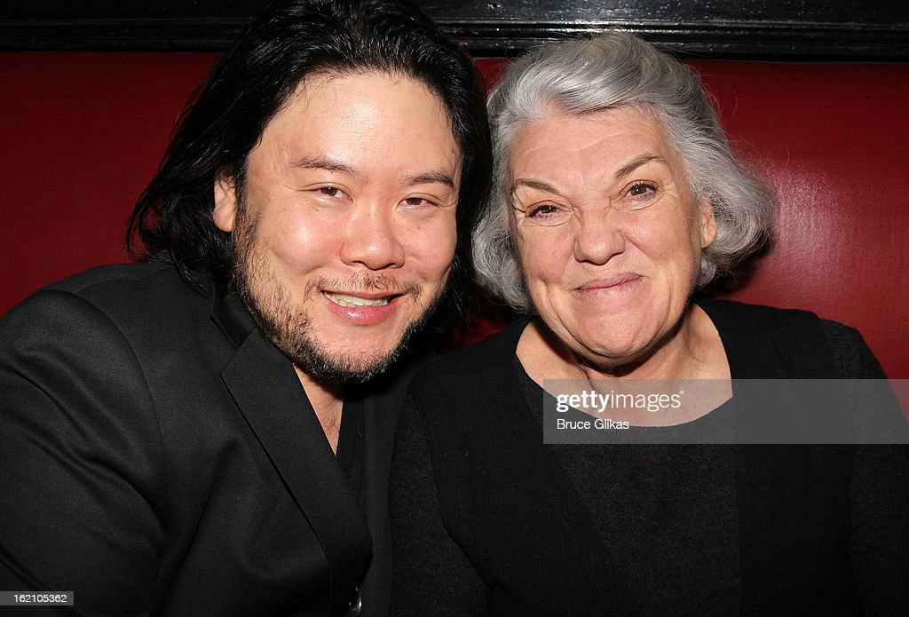 Director Stafford Arima and Tyne Daly pose backstage at 'Ragtime' on Broadway at Avery Fisher Hall on February 18, 2013 in New York City.