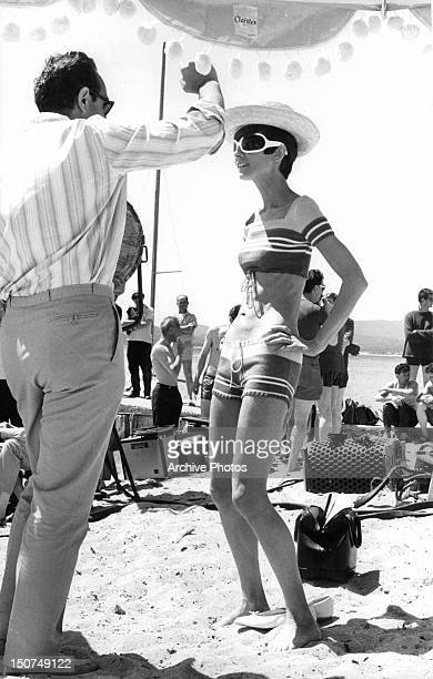 Director Stanley Donen providing instruction to Audrey Hepburn for a scene from the film 'Two For The Road' 1967