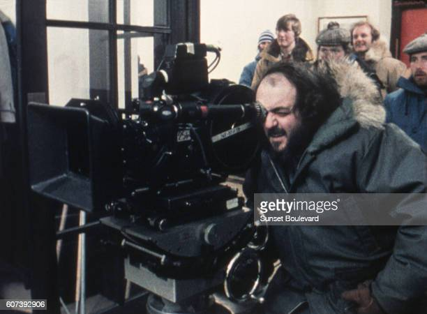 Director Stanley Kubrick on the set on The Shining