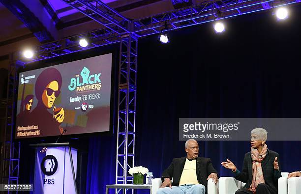Director Stanley Nelson and former Black Panther and film participant Ericka Huggins speak onstage during 'The Black Panthers Vanguard of the...