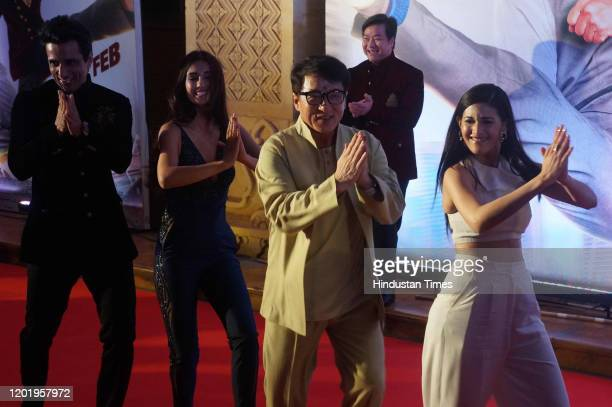 Director Stanley Tong, Sonu Sood, Disha Patani, Jackie Chan and Amyra Dastur, during the promotion of movie 'Kung Fu Yoga', on January 23, 2017 in...