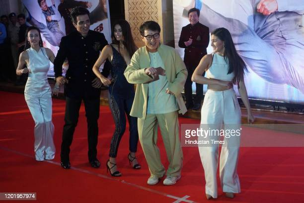 Director Stanley Tong with actors Sonu Sood, Miya Muqi, Disha Patani, Jackie Chan and Amyra Dastur, during the promotion of movie 'Kung Fu Yoga', on...
