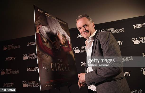 """Director Stefan Haupt signs the film poster during the 2014-2015 Variety Screening Series featuring """"The Circle"""" at Chelsea Bow Tie Cinemas on..."""