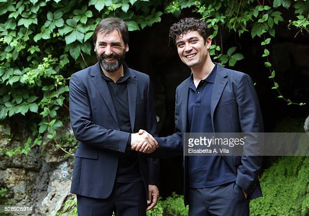 Director Stefano Mordini and actor Riccardo Scamarcio attend a photocall for 'Pericle Il Nero' at Jardin De Russie on May 7 2016 in Rome Italy