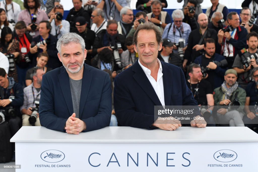 Director Stephane Brize (L) and actor Vincent Lindon attends 'In War (En Guerre)' Photocall during the 71st annual Cannes Film Festival at Palais des Festivals on May 16, 2018 in Cannes, France.