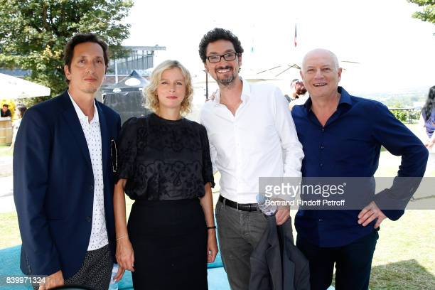 Director Stephane Foenkinos Actress Karin Viard Writer director David Foenkinos and Editorinchief of TV5 Monde Patrick Simonin attend the 10th...
