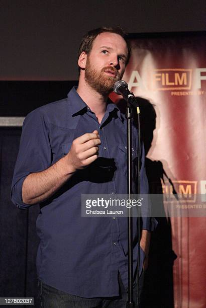 """Director Stephane Lafleur speaks onstage at the """"Familiar Ground"""" Q & A during the 2011 Los Angeles Film Festival held at Regal Cinemas L.A. LIVE on..."""
