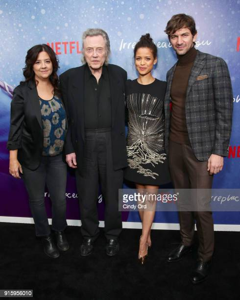 Director Stephanie Laing Christopher Walken Gugu MbathaRaw and Michiel Huisman attend the Special Screening of the Netflix Film 'Irreplaceable You'...