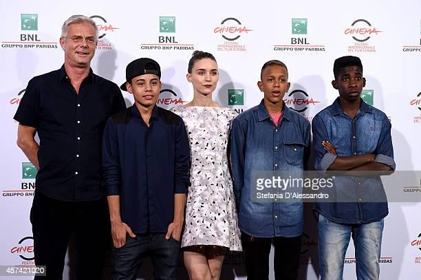 Director Stephen Daldry actors Gabriel Weinstein Rooney Mara Eduardo Luis and Rickson Tevez attend 'Trash' Photocall during The 9th Rome Film...