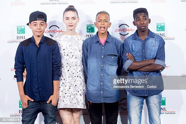 Director Stephen Daldry actors Gabriel Weinstein Rooney Mara Eduardo Luis and Rickson Tevez attend 'Trash' Photocall during The 9th Rome Film...