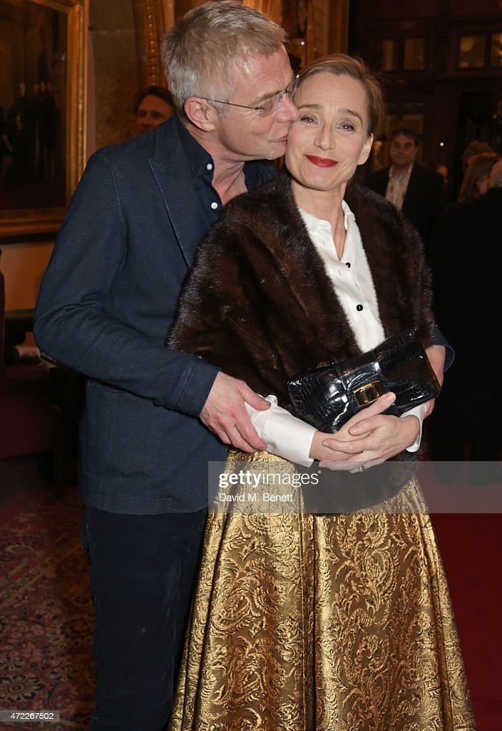 Director Stephen Daldry (L) and Dame Kristin Scott Thomas attend an after party following the press night performance of 'The Audience' at The Royal Horseguards Hotel on May 5, 2015 in London, England.