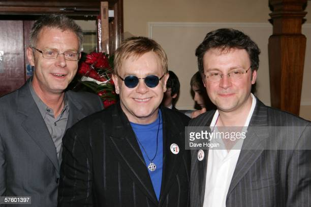 Director Stephen Daldry Elton John and writer Lee Hall celebrate the 1st Anniversary of Billy Elliot the Musical backstage at Victoria Palace Theatre...