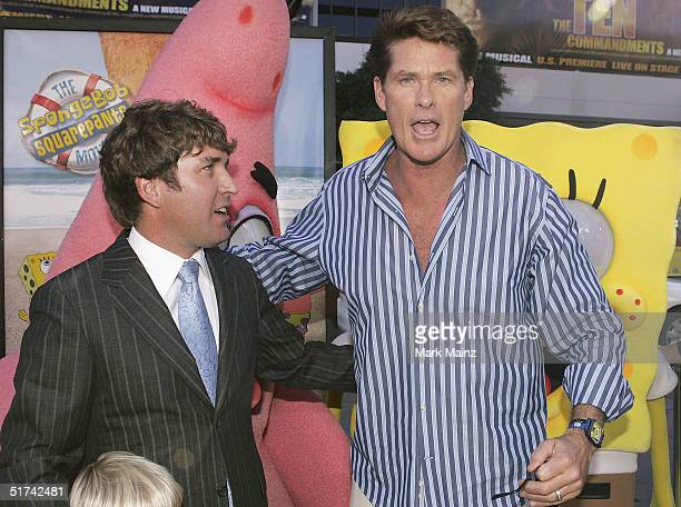 Director Stephen Hillenburg and actor David Hasselhoff attend the film premiere of The Spongebob Squarepants Movie at the Grauman's Chinese Theatre...