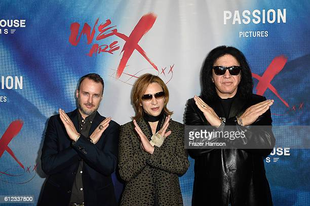 Director Stephen Kija and musicians Yoshiki and Gene Simmons attend the premiere of Drafthouse Films' We Are X at TCL Chinese Theatre on October 3...