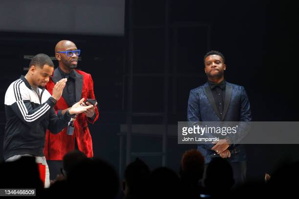 """Director Steve Broadnax III and playwright Keenan Scott II speak during the curtain call of """"Thoughts Of A Colored Man"""" opening night at Golden..."""
