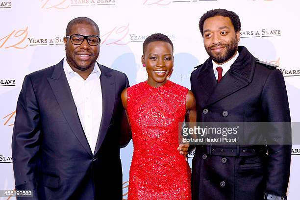 Director Steve McQueen actress Lupita Nyong'o and actor Chiwetel Ejiofor attend the '12 Years a Slave' movie Premiere at Cinema UGC Normandie on...
