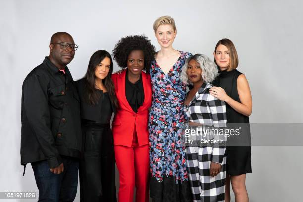 Director Steve McQueen actresses Michelle Rodriguez Viola Davis Elizabeth Debicki Cynthia Erivo and writer Gillian Flynn from 'Widows' are...